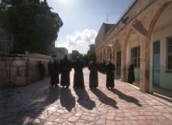 The Way of sorows, Calvary, first station. El-Omarija muslim school.