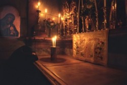 The Tomb – The aedicule, the artificial structure that stands in the center of the anastasis, simulates the original two-roomed tomb of hewn stone. One enters the first room, the Chapel of the Angel,