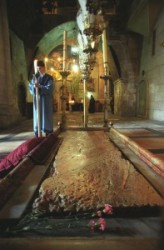 Church of the Holy Sepulcher_Holy Land_Holy Prison_Tomb of Christus_Stone of the Unction_Golgotha_Roman Catholics_Greek orthodox. The pictures is in the Jerusalem Christian Quarter._