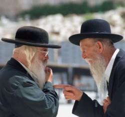 Jerusalem. Ultraortodox Jews. Ortodox Jews man at the street.