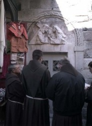 Way of Sorrow- Fourth Station. A bas-relief sculpture by Zieliensky indicates the place where Jesus met his mother.